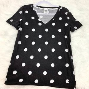 Pink Victoria's Secret Black and White Dot Tee